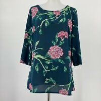 HD in Paris Anthropologie Top Eira Green Floral Blouse 3/4 Sleeve Size 2 FLAW