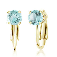 2.39 Ct Round Sky Blue Topaz 925 Yellow Gold Plated Silver Clip On Earrings