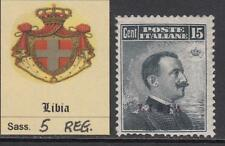 ITALY - LIBIA  n. 5 - WITH CERTIFICATE - Regummed 1050$ as MH* so centered