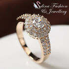18K Yellow Gold Plated Simulated Diamonds Double Halo Round Cut Bridal Ring