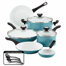 12 Pc Ceramic Cookware Set Pots Pans Non-Stick Glass Lids Aqua Blue Farberware