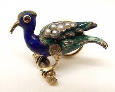 Vtg 14K Gold Enamel Peacock Bird Brooch Pin Seed Pearl Spiral Back Estate