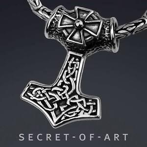 Thor Hammer Anhänger Amulett Silber 925 Sterling Wikinger Thor Mjolnir Mjölnir
