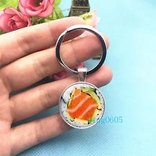 SUSHI Art Photo Tibet Silver Key Ring Glass Cabochon Keychains -489