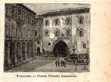 Stampa antica FABRIANO piccola veduta piazza Ancona Marche 1897 Old Print