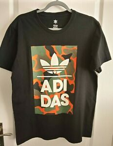 Men's Large Adidas T-shirt Black With Camo Logo - Used Very Good Condition