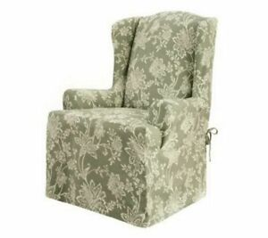 Sure Fit Verona Sage white Wing Chair slipcover cotton duck washable NEW