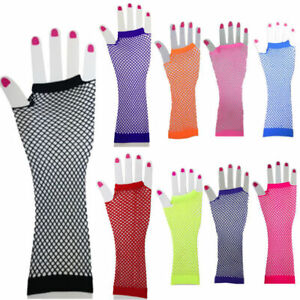 Ladies Girls Neon Sexy Long Fingerless Fishnet/Lace Gloves 80s-Fancy Dress