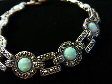 Art Deco Fire Opal Marcasite Bracelet 1920s 1930s Vintage style Anniversary Gift