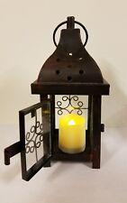 Dark Brown Metal Lantern LED Candle Holder x3