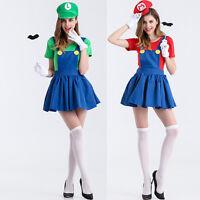 Women Adult Super Mario Luigi Brothers Plumber Fancy Dress Party Cosplay Costume