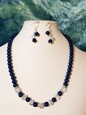 Deep Royal Blue Glass Pearl, Crystal & Rhinestone Necklace Set.  A~K~N Design