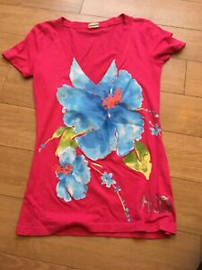 Ladies Pink Floral Hollister Top, Size XS