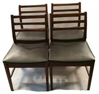 Vintage MCM Teak Dining Chairs x4 Black Vinyl Faux Leather Seats Danish 1960s