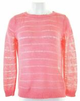 MARKS & SPENCER Womens Crew Neck Jumper Sweater UK 12 Medium Pink Loose  AW03