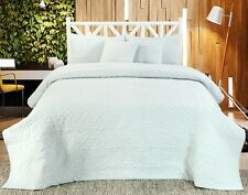 Handmade Cotton Quilted Bedspread Set Quilt Bed Set Chloe Turquoise