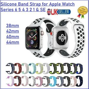 Silicone Band Strap for Apple Watch Series 6 5 4 3 2 1 & SE 38mm 40mm 42mm 44mm