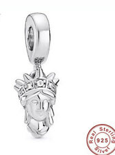 🇬🇧💜💜925 STERLING SILVER STATUE OF LIBERTY CHARM & POUCH