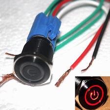 Schwarz 16mm 12V Red Power Ring LED Drucktastenschalter W / Steckdose Stecker YS