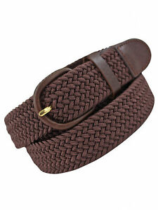 BROWN BRAIDED ELASTIC STRETCH BELT SIZE LARGE