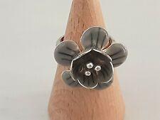 Pilgrim Danish Design Adjustable Silver & Grey Enamel 3-Dimensional Flower Ring