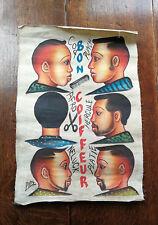 Ancienne Enseigne de Coiffeur Africain Barber Shop Peinture Art Afrique Original