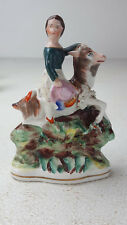 Antique Staffordshire Girl Riding Goat Figure Bocage Hand Painted