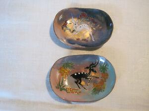2 vintage miniature copper on enamel trinket dishes, animal deer design