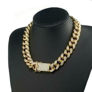2 Ct Diamond Hip Hop Miami Cuban Link Cluster 18MM Chain 14K Yellow Gold Over