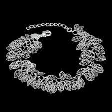 925 Sterling Silver Leafs Adjustable 8-9 Inch Bracelet L40