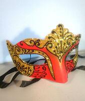 Gold Filigree Eye Mask - Masquerade Ball Costume Party Mardis Gras - Red