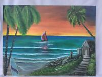 Original Acrylic Painting 9 x 12 Canvas Seascape Tropical Coastal  Beach Art