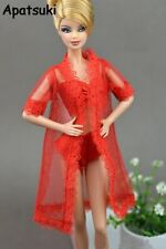 Doll Accessories Sexy Red Clothes for Barbie Pajamas Lingerie Lace Coat + Bra