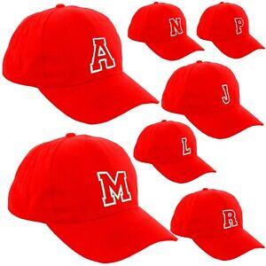 Red Baseball Cap Kids Adult Size Boy Girl School Hat Casual Men Women Caps A-Z