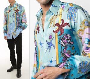 NEW $1175 VERSACE men's Silk Trésor de la Mer fantasy Print Party Shirt 41/XL/16