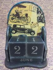 Wooden Perpetual Calendar Handmade Retro Cars Desk Block Calendar Home Decor