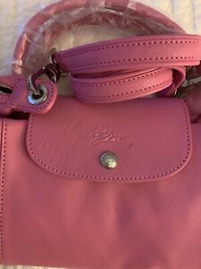 LONGCHAMP Le Pliage Cuir Leather Top Handle Tote -- Pink -- NEW