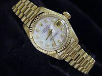 Ladies Rolex Solid 18K Yellow Gold Datejust President w/MOP Diamond Dial 6917