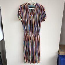 Missoni Women's Size ES Vintage 70s Striped Dress Multicolor T Length Silk