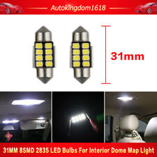 2x White 31mm 8SMD 2835 Canbus Error Free LED Bulbs For Interior Dome Map Light