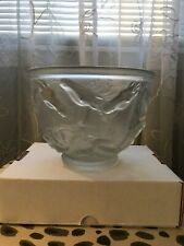 Vintage Art Deco Czech Bohemian Frosted Glass Poseidon Galloping Horses Bowl