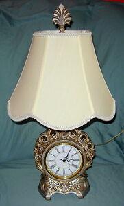 Unique Silver Design Swirl Bedside Quartz Clock Lamp