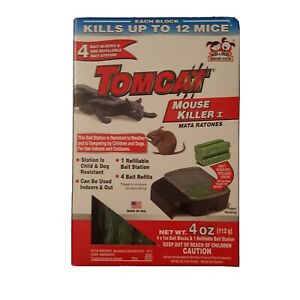 Tomcat Mouse Killer Refillable Mouse Bait Station and 4 blocks Mouse Poison