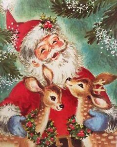 Set of TWO 5x7 Vintage Retro Santa & Deer Christmas Craft Quilting Fabric Blocks