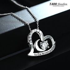 Jewelry Sterling Silver Love Heart Pendant Necklace Crystal Chain Women Wedding
