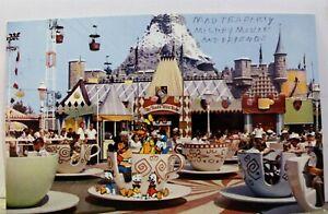 Disneyland Fantasyland Mad Hatter Tea Party Mickey Mouse Postcard Old Vintage PC