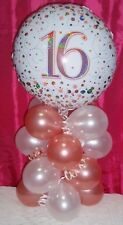 FOIL BALLOON AGE 16 16th BIRTHDAY TABLE DISPLAY AIRFILL - ROSE GOLD HOLOGRAPHIC