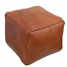 Moroccan square leather pouf, coffee table, Moroccan ottoman poof, Footstool puf