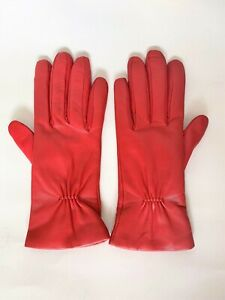MAX&Co. by MAX MARA , 100% LEATHER Gloves in Red , Size 7,5 (M)