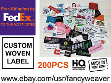 200pcs Custom Damask Woven Clothing Labels (Text Only) for Sewing on/ Stitching